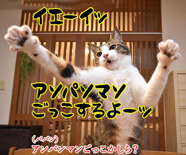 アンパンマンごっこするよーッ 猫の写真で4コマ漫画 1コマ目ッ
