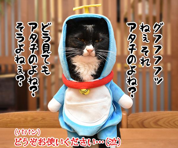 ドラえもんのタイムマシンベッドが届いたのよッ 猫の写真で4コマ漫画 4コマ目ッ