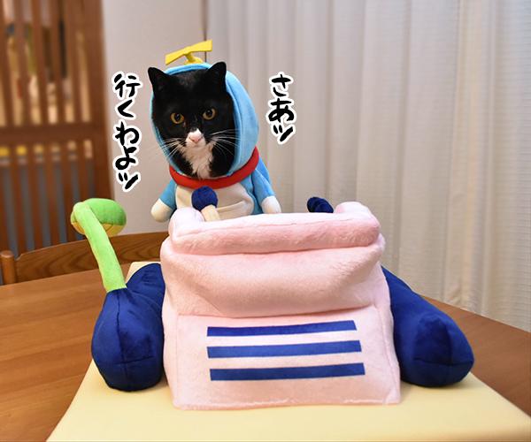 ドラえもんのタイムマシンベッドが届いたのよッ 猫の写真で4コマ漫画 6コマ目ッ